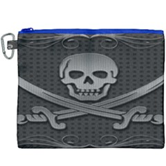 Skull Metal Background Carved Canvas Cosmetic Bag (xxxl)
