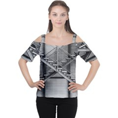 Architecture Stairs Steel Abstract Cutout Shoulder Tee