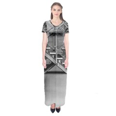 Architecture Stairs Steel Abstract Short Sleeve Maxi Dress