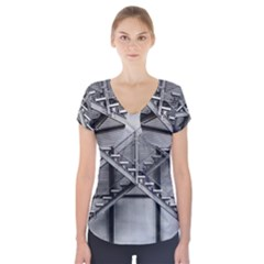 Architecture Stairs Steel Abstract Short Sleeve Front Detail Top