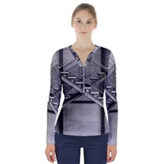 Architecture Stairs Steel Abstract V Neck Long Sleeve Top