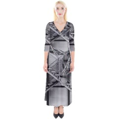 Architecture Stairs Steel Abstract Quarter Sleeve Wrap Maxi Dress