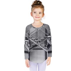 Architecture Stairs Steel Abstract Kids  Long Sleeve Tee