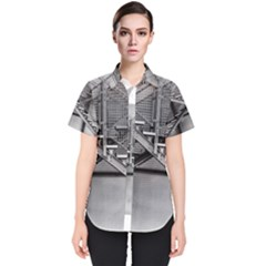 Architecture Stairs Steel Abstract Women s Short Sleeve Shirt