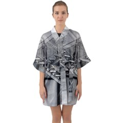 Architecture Stairs Steel Abstract Quarter Sleeve Kimono Robe