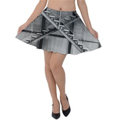 Architecture Stairs Steel Abstract Velvet Skater Skirt
