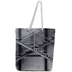 Architecture Stairs Steel Abstract Full Print Rope Handle Tote (large)