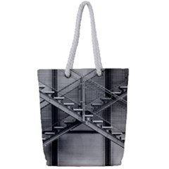 Architecture Stairs Steel Abstract Full Print Rope Handle Tote (small)