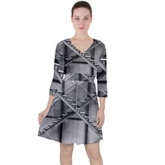 Architecture Stairs Steel Abstract Ruffle Dress