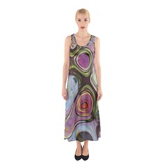Retro Background Colorful Hippie Sleeveless Maxi Dress