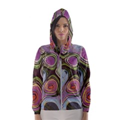 Retro Background Colorful Hippie Hooded Wind Breaker (women)
