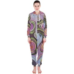 Retro Background Colorful Hippie Hooded Jumpsuit (ladies)