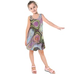 Retro Background Colorful Hippie Kids  Sleeveless Dress