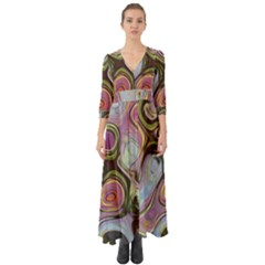 Retro Background Colorful Hippie Button Up Boho Maxi Dress