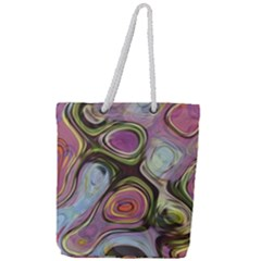 Retro Background Colorful Hippie Full Print Rope Handle Tote (large)