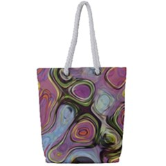 Retro Background Colorful Hippie Full Print Rope Handle Tote (small)