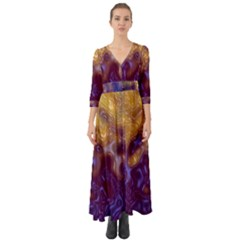 Fractal Rendering Background Button Up Boho Maxi Dress