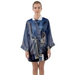 Skyscraper Skyscrapers Building Long Sleeve Kimono Robe