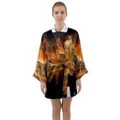 Art Creative Graphic Arts Owl Long Sleeve Kimono Robe