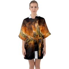 Art Creative Graphic Arts Owl Quarter Sleeve Kimono Robe