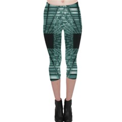 Abstract Perspective Background Capri Leggings