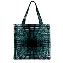 Abstract Perspective Background Zipper Grocery Tote Bag
