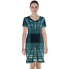 Abstract Perspective Background Short Sleeve Nightdress