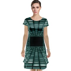 Abstract Perspective Background Cap Sleeve Nightdress