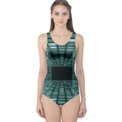 Abstract Perspective Background One Piece Swimsuit
