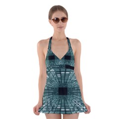 Abstract Perspective Background Halter Dress Swimsuit