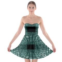Abstract Perspective Background Strapless Bra Top Dress