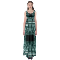 Abstract Perspective Background Empire Waist Maxi Dress