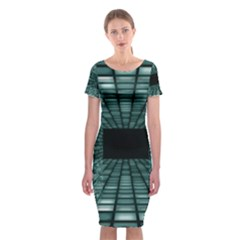 Abstract Perspective Background Classic Short Sleeve Midi Dress