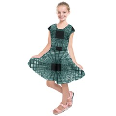 Abstract Perspective Background Kids  Short Sleeve Dress