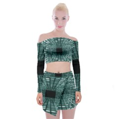 Abstract Perspective Background Off Shoulder Top With Mini Skirt Set