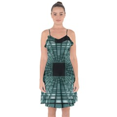 Abstract Perspective Background Ruffle Detail Chiffon Dress