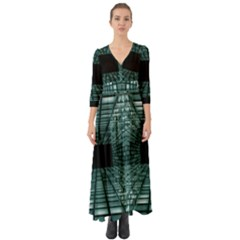 Abstract Perspective Background Button Up Boho Maxi Dress
