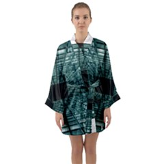 Abstract Perspective Background Long Sleeve Kimono Robe