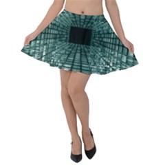 Abstract Perspective Background Velvet Skater Skirt