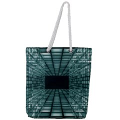 Abstract Perspective Background Full Print Rope Handle Tote (large)