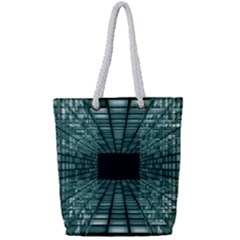 Abstract Perspective Background Full Print Rope Handle Tote (small)
