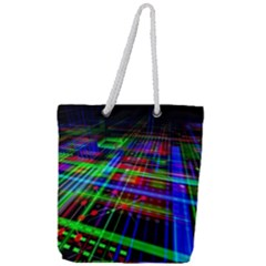 Electronics Board Computer Trace Full Print Rope Handle Tote (large)