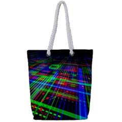 Electronics Board Computer Trace Full Print Rope Handle Tote (small)