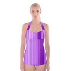 Background Texture Pattern Purple Boyleg Halter Swimsuit
