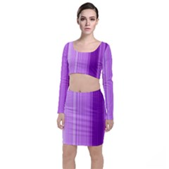 Background Texture Pattern Purple Long Sleeve Crop Top & Bodycon Skirt Set