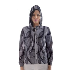 Abstract Black And White Background Hooded Wind Breaker (women)
