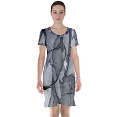 Abstract Black And White Background Short Sleeve Nightdress
