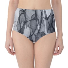 Abstract Black And White Background High Waist Bikini Bottoms