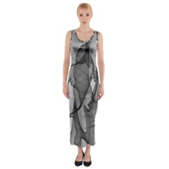 Abstract Black And White Background Fitted Maxi Dress