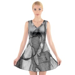 Abstract Black And White Background V Neck Sleeveless Skater Dress